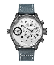 G3 grey leather chronograph watch