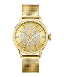 Belle 18k gold-plated diamond watch