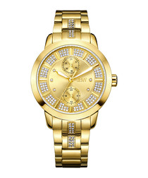 Lumen 18k gold-plated & diamond watch