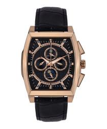 Carrée black & rose gold-tone watch