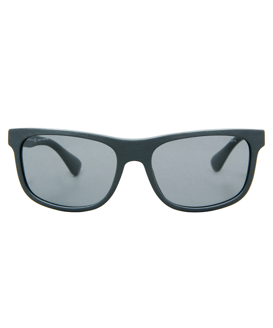 Plaque brushed grey sunglasses Sale - prada