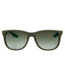 Green rubber oval sunglasses
