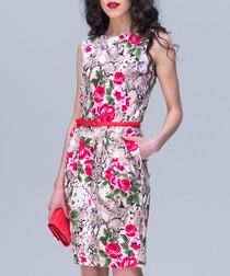 Beige & pink cotton floral shift dress
