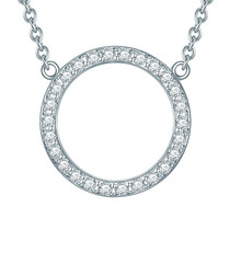Sterling silver circle crystal necklace