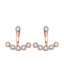 Rose gold-plated crystal swing earrings