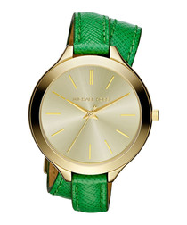 Runway green leather wrap watch