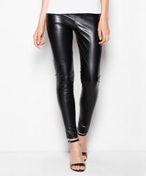 Black leather-look leggings