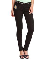Black cotton blend daisy jeans