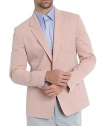 Pink pure cotton long sleeve blazer