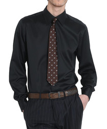 Black pure cotton long sleeved shirt