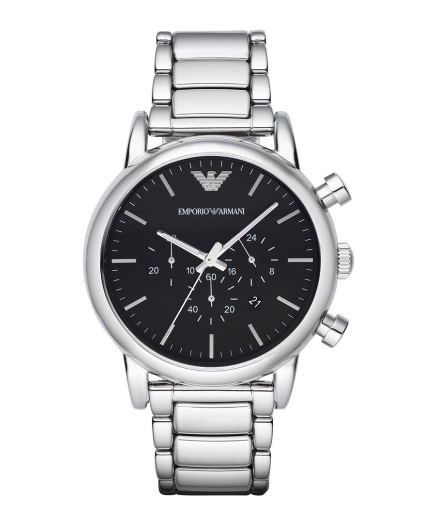 Silver-tone steel & black dial watch Sale - emporio armani