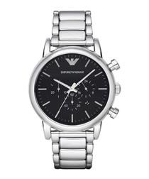 Silver-tone steel & black dial watch