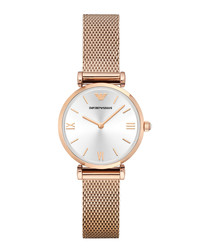Rose gold-tone mesh bracelet watch