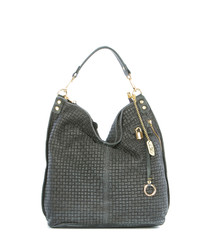 Ash leather weave slouch bag