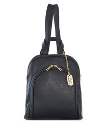 Navy leather & gold-tone backpack