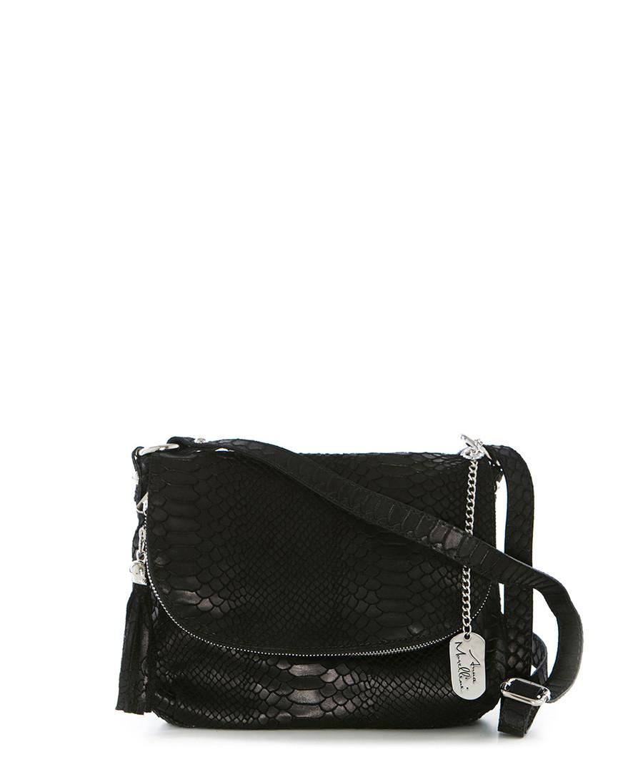 Black moc-croc leather crossbody Sale - anna morellini
