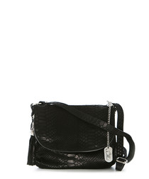 Black leather moc-croc cross body bag