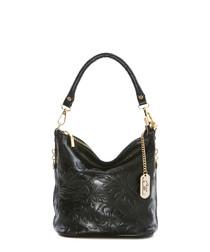 Black embossed leather shoulder bag