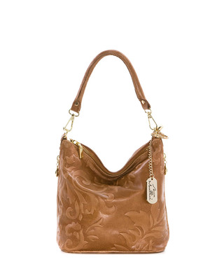 db3be53ee062 anna morellini. Tan embossed leather shoulder bag