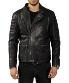 Black leather quilted arm biker jacket