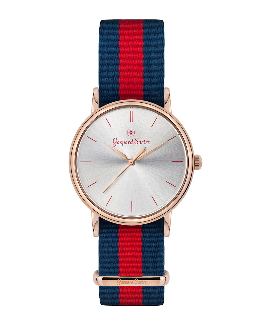 La Variée rose gold-tone striped watch Sale - gaspard sartre
