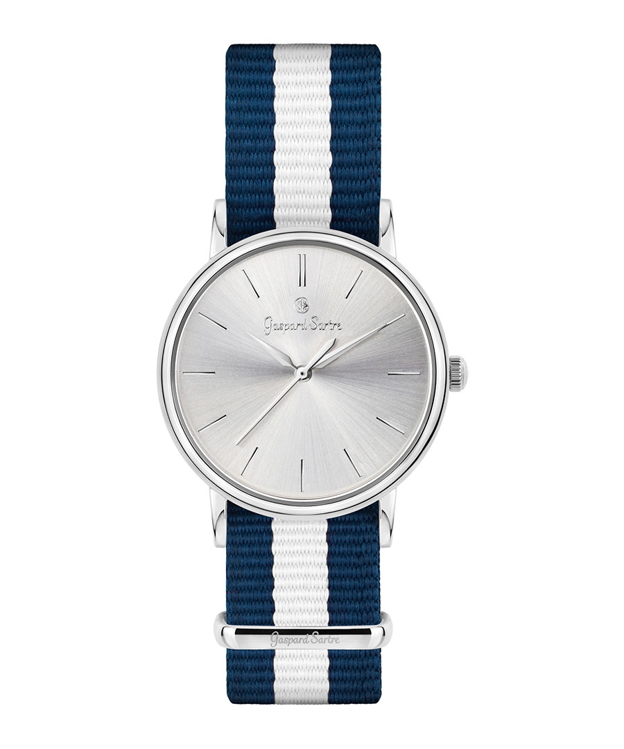 L' Imposante navy & white striped watch Sale - gaspard sartre