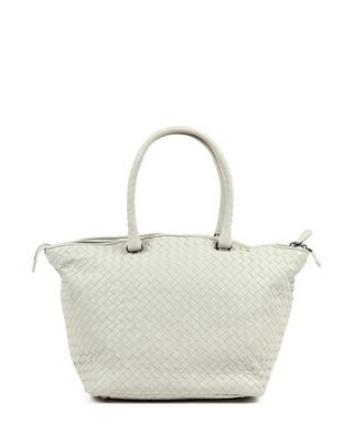 3b3bc46842 Bottega Veneta. Ecru woven leather zip top tote bag