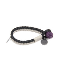 Black and cream leather bracelet
