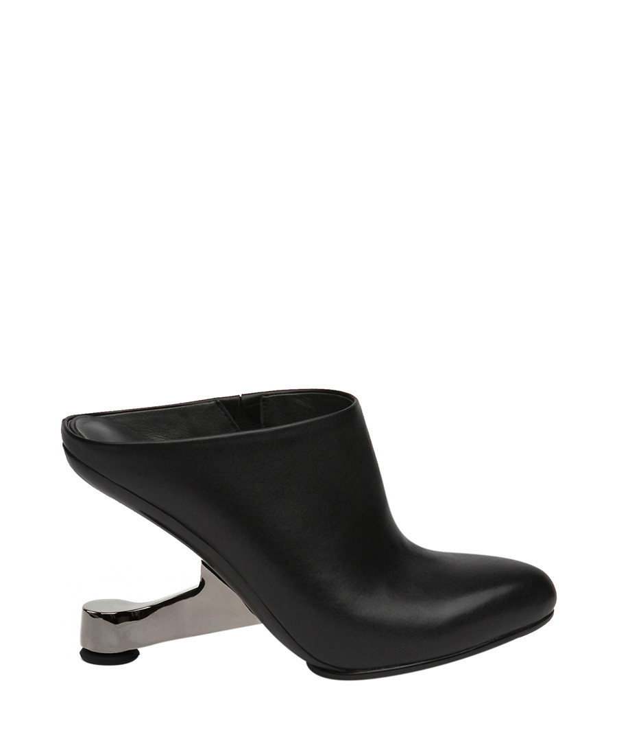 Black leather gravity heel ankle boots Sale - JADY ROSE