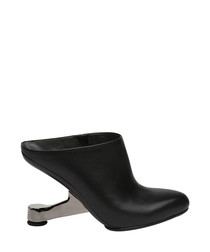 Black leather gravity heel ankle boots