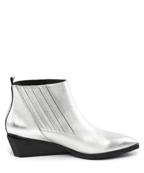 Silver leather wedge ankle boots