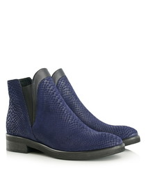 Black & blue leather ankle boots