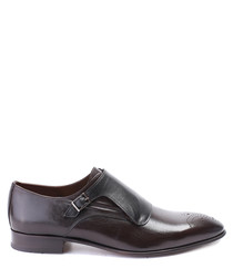 Brown & black leather buckle shoes
