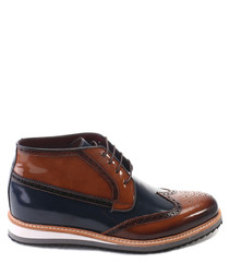 Navy & tan leather brogue ankle boots