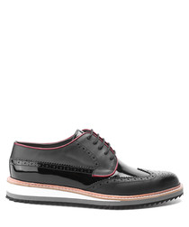 Black leather trim detail brogues