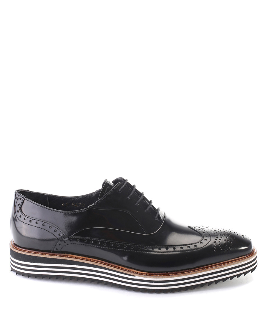 Black leather stripe detail brogues Sale - deckard