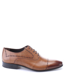 Walnut leather perforated Derby shoes