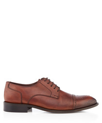 Brown leather perforated Derby shoes