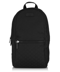 Black canvas & leather tile backpack
