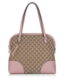 Pink & beige canvas tile shoulder bag