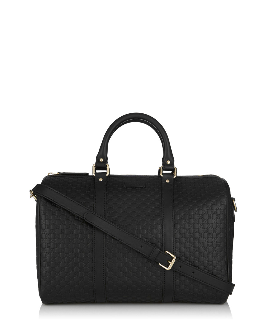Black embossed leather bowling bag Sale - gucci
