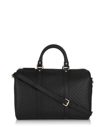 Black embossed leather bowling bag