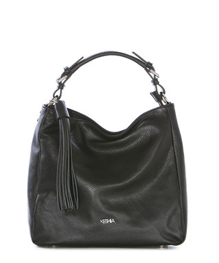 6f8b0c773c Black leather tassel slouch shoulder bag Sale - KESHIA Sale