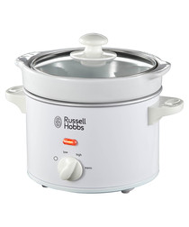 White compact slow cooker 2L