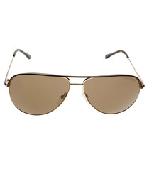 Erin brown & gold-tone pilot sunglasses