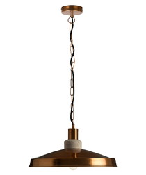 Copper domed aluminium pendant light