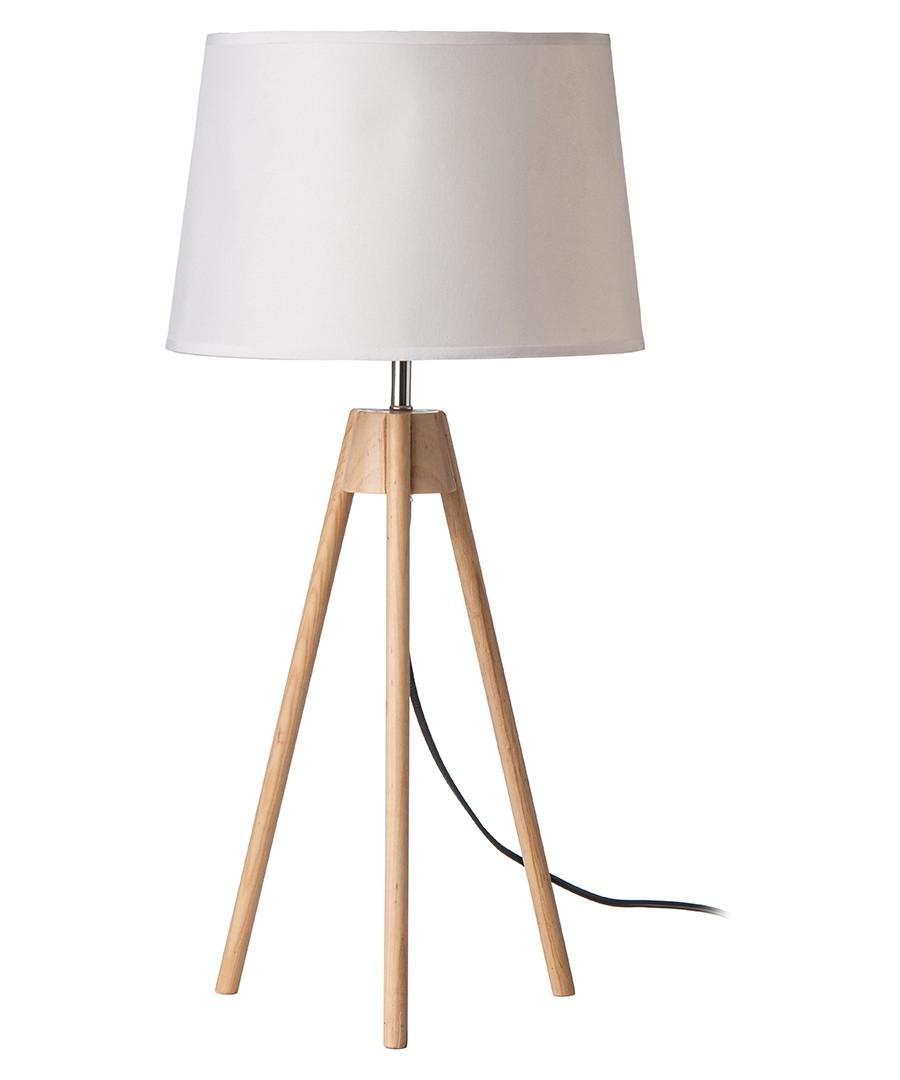 White & wood tripod table lamp Sale - premier