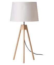 White wood tripod table lamp