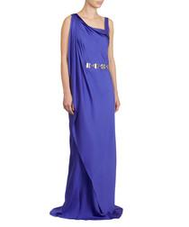 Ultraviolet silk asymmetric maxi dress