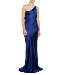 Sapphire silk asymmetric maxi dress